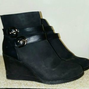 Black Faux Suede Leatherlike Strapped Booties 11
